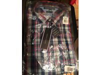 Men Boys Tommy Hilfiger Poplin Cotton Fitted Shirt Blue Check Size Small Brand New