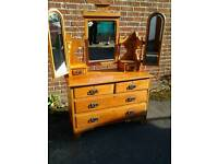Vintage chest of drawers with 3 way mirrors