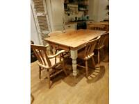 Beautiful farmhouse pine dining table with 6 chairs