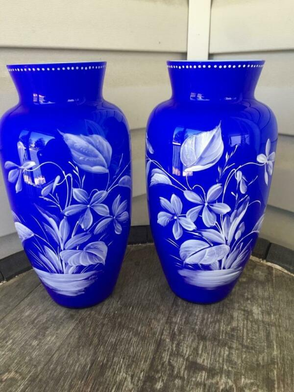 Vintage Pair Tall Bristol Glass Enamel Painted Cobalt Blue Vases Gorgeous