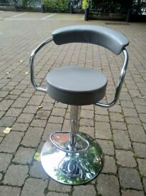 Grey faux leather chrome adjustable height stool (nearly new) excellent central London bargain