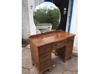 Mahogany antique vanity table with mirror. Also selling matching wardrobe and chest of drawers.