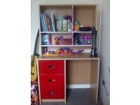 Desk with overtop shelving
