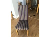 4 High Backed Dining Chairs with light oak legs and an attractive striped velour material
