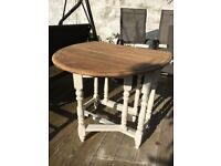 Vintage Oak Vintage Drop Leaf Gate Leg Table Stripped and Ivory Chalk Paint Legs