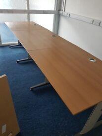 3 Person Beech wood effect call centre straight desks