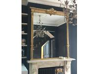 TWO Stunning Gold Large Mantle Mirrors Set of Two Matching