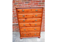 Tall solid pine chest of 6 drawers