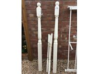 Two brand new white newel posts