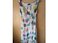 "Brand new with tags ""DEBENHAMS"" white silk dress size 14, £25.00"