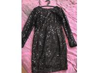 Warehouse Black Sequin Dress size 14