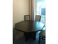 Black wooden table and 4 chairs
