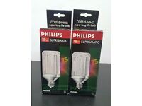 Philips ES 18w SL Prismatic 75 Cost Saving Super Long Life Bulb x 2