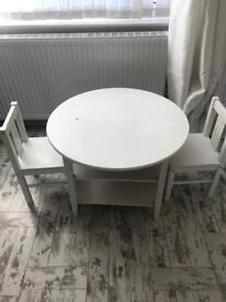Ikea White Child Toddler Kids Table & Chair Set