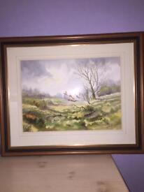 "Large Watercolour - ""Pheasants In Flight"" By NI Artist RB Higgins"
