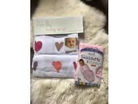 2 x Baby girls swaddle wraps - brand new £15