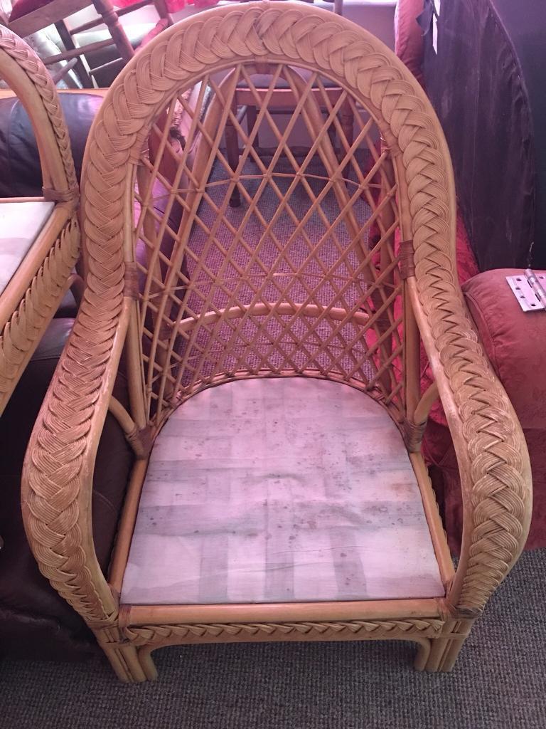 Cane Armchair x 2