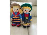 Hand knitted scarecrows £20.00.