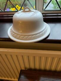 Lovely white China cheese or cake plate and cover