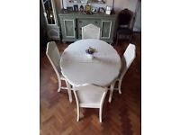 Beautiful Table and 4 Chairs hand painted and Table runner