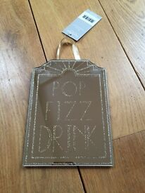New Pop Fizz Drink Glass Plaque With Glitter 12.5cm x 18cm Art Deco Style New With Tags Gift Present