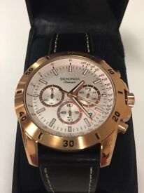 ( New and boxed ) Sekonda Quartz Chronograph Watch and Black Leather Strap 1087.27