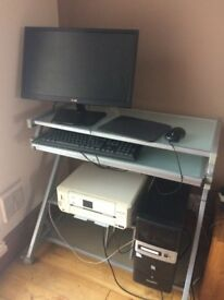 Computer Tower, Mouse, Flat screen monitor, Speakers, Printer and Workstaion.