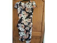 Black dress with flower print size 12