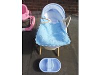 MOSES BASKET with covers and top 'n' tail tub **REDUCED PRICE**