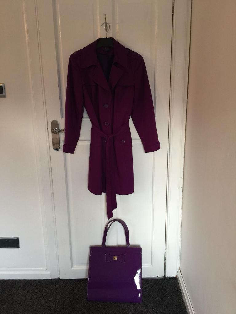 M&S plum coat(size 14) and plum handbag