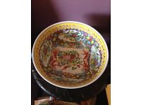LARGE ANTIQUE CHINESE ROSE MEDALLION PUNCH BOWL