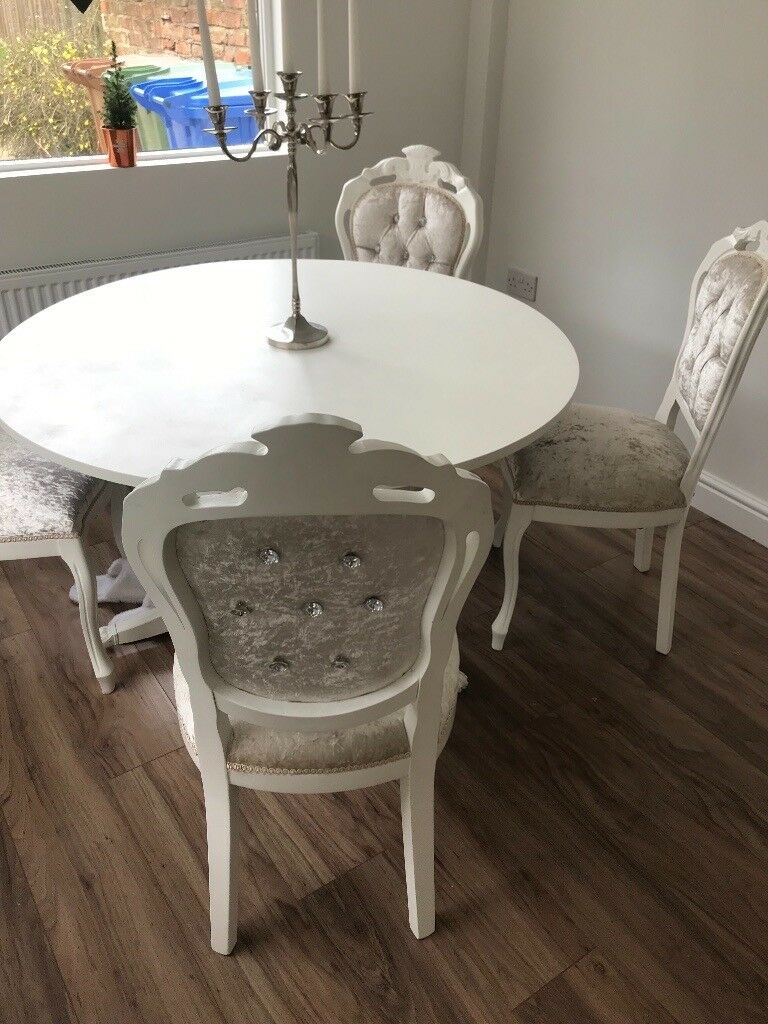 Cool Louis Style Dining Table And 4 Chairs French Boudoir Style Mink Crushed Velvet In Hull East Yorkshire Gumtree Download Free Architecture Designs Embacsunscenecom