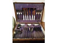 Antique Cutlery in Wooden box.