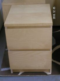 Malm (Ikea) s drawer bedside table. One other available. Beech effect. Good condition.