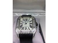 Cartier Santos 100 automatic diamond ice ap audemars piguet hublot Rolex patek phillipe rich mille
