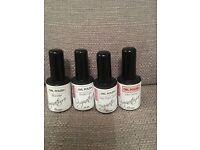 ASP bonder, base coat, top coat gloss and wild orchid gel polish