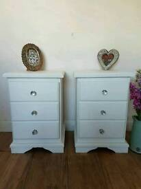 Pair of white shabby chic bedside drawers