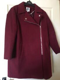 Debenhams Collection winter coat ladies size 14 petite Burgundy
