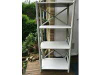 rattan book shelf off-white and grey 140 x 63 x 41 HxWxD