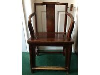Antique/old style Chinese arm chair solid wood with carving and dark stain finish