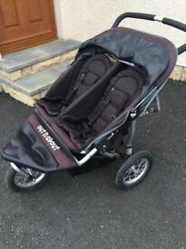 Out & about double nipper buggy