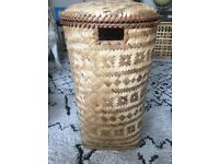 Wicker Laundry basket 26' by 17' approx removable lid