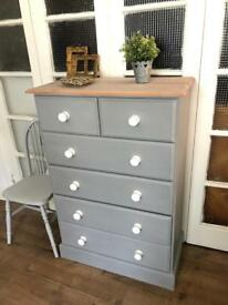 Tallboy/Chest of drawers free delivery Ldn Shabby Chic solid wood throughout