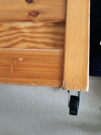 2x wooden under bed storage boxes with wheels