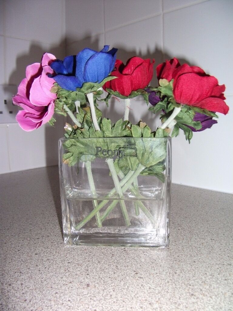 Anemone Faux Flowersin Cumbernauld, GlasgowGumtree - This arrangement is made by Peony Flowers and is consists of a mixture of red, blue, pink, cream and purple faux anemone flowers in a rectangular shaped glass vase. The flowers are set in a clear resin intended to simulate still water. The glass vase...