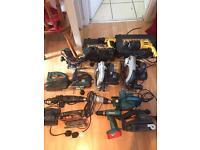 Power tools job lot, dewalt makita drills saw jigsaw