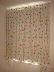 Blackout Mothercare curtains with safari/jungle/animals theme and 2 matching canvases/frames