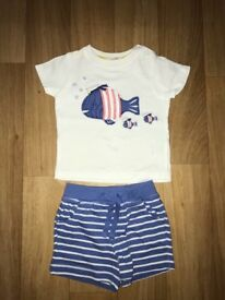 John Lewis Fish shorts and tshirt size 3-6 months