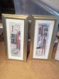 Twin Chinese framed pictures