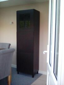Ikea BESTA tall lounge unit, glass top door,and 2 other doors 202cm black/brown. bargain price